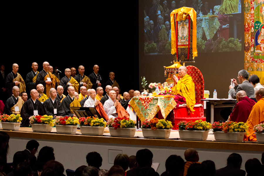 Japanese monks reciting the Heart Sutra at the start of His Holiness the Dalai Lama's teachings at Showa Joshi Women's University's Memorial Hall in Tokyo, Japan on April 13, 2015. (Photo courtesy/Tenzin Jigmey)