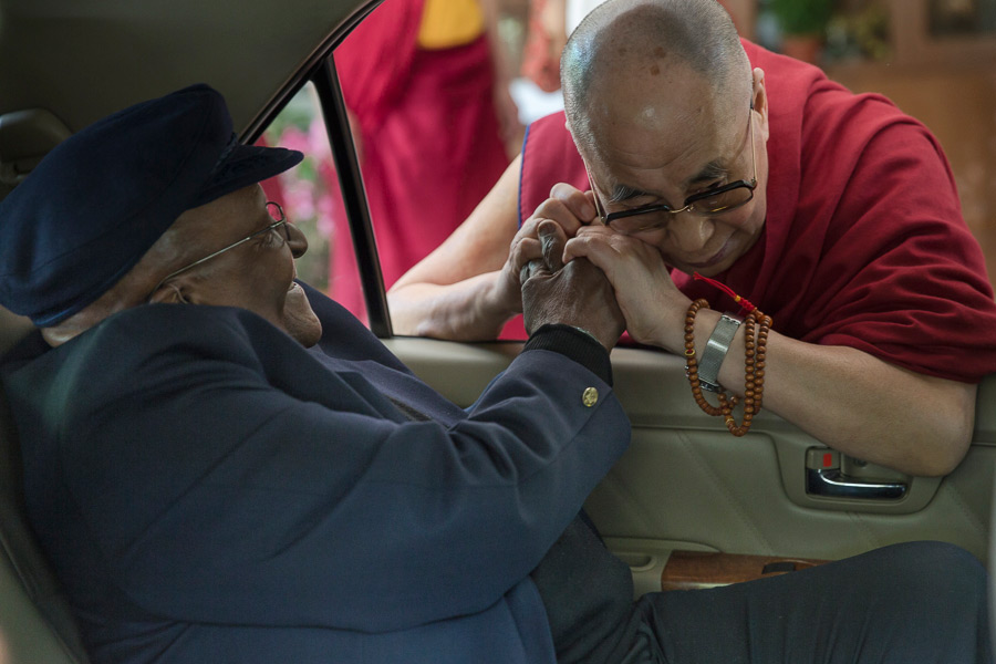His Holiness the Dalai Lama saying goodbye to Archbishop Desmond Tutu at the end of a week long visit by the Archbishop to Dharamsala, HP, India on April 24, 2015. (Photo courtesy/Tenzin Choejor/OHHDL)
