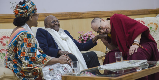 His Holiness the Dalai Lama together with Archbishop Desmond Tutu and his daughter Mpho at the Kangra Airport on their arrival at the start of a seven day visit to Dharamsala, HP, India on April 18, 2015. (Photo courtesy: OHHDL)