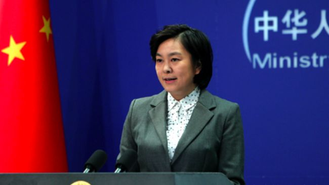 China's Foreign Ministry spokeswoman Hua Chunying at a regular press briefing in Beijing.