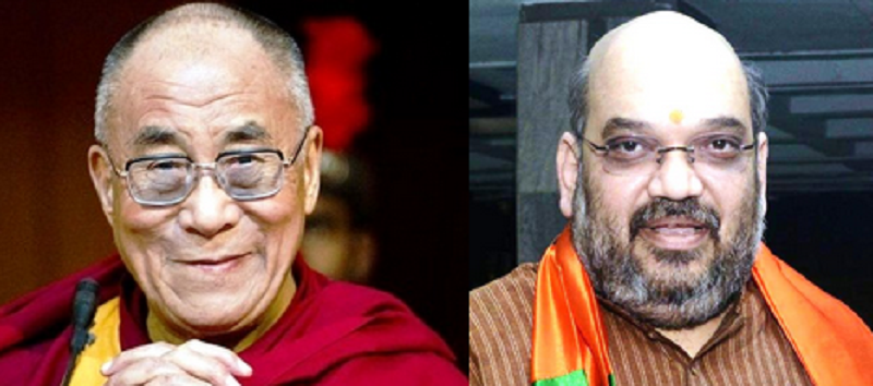 Tibet's exiled spiritual leader, the Dalai Lama, and the President of India's ruling Bharatiya Janata Party (BJP), Mr Amit Shah.
