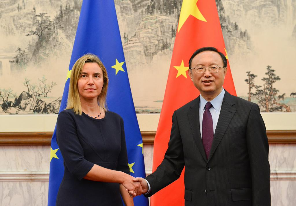 EU High Representative for Foreign Affairs and Vice President of the European Commission Federica Mogherini with Chinese State Councilor Yang Jiechi.