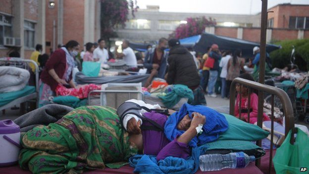 Patients at the Teaching Hospital in Kathmandu were treated outside. (Photo courtesy: AP)