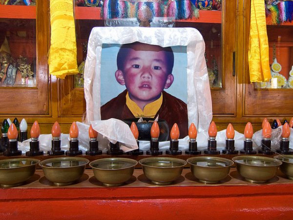 Picture of six-year-old Gedhun Choekyi Nyima, the 11th Panchen Lama. Chinese government abducted the six year old boy and his family.