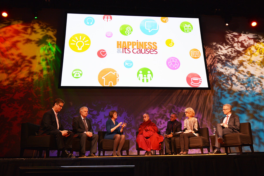 His Holiness the Dalai Lama with fellow panelists on stage during the Happiness & Its Causes conference in Sydney, Australia on June 10, 2015. (Photo courtesy/Rusty Stewart/OHHDL)