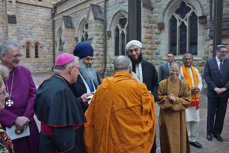 His Holiness the Dalai Lama and fellow spiritual and religious leaders arriving at the Cathedral of St Stephen to participate in a multi-faith gathering in Brisbane, Queensland, Australia on June 11, 2015. (Photo courtesy/Jeremy Russell/OHHDL)