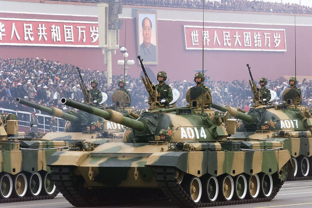 China celebrates anniversary with a military parade through Tiananmen Square.