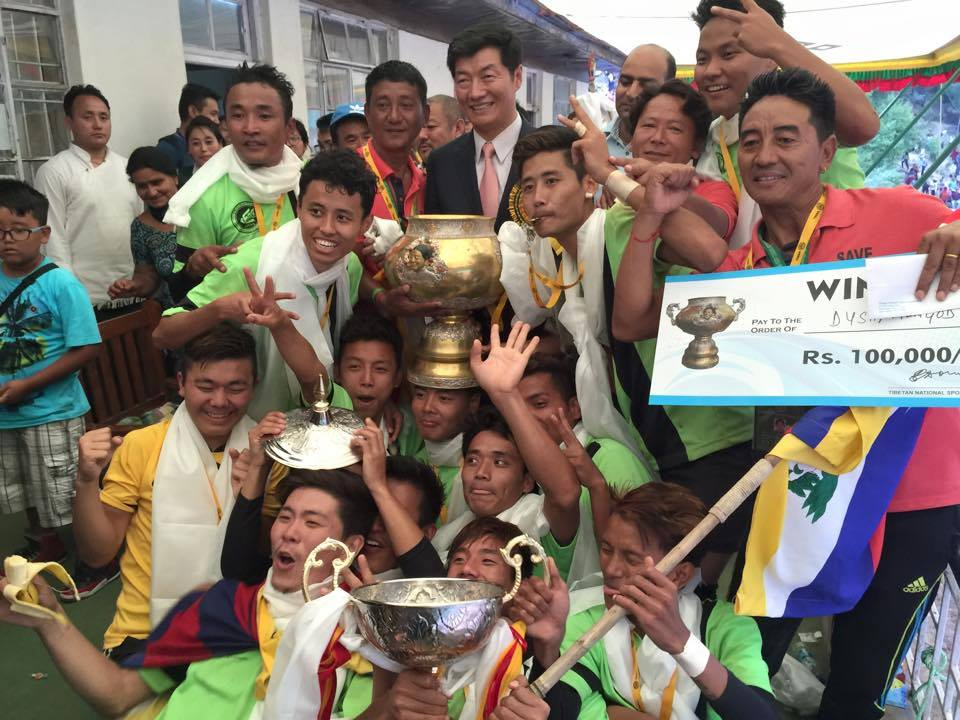 The Winner of 21st Gyalyum Chenmo Memorial Gold Cup Football Tournament DySC Mundgod. (Photo courtesy: Jigme Tsering Ruthog)
