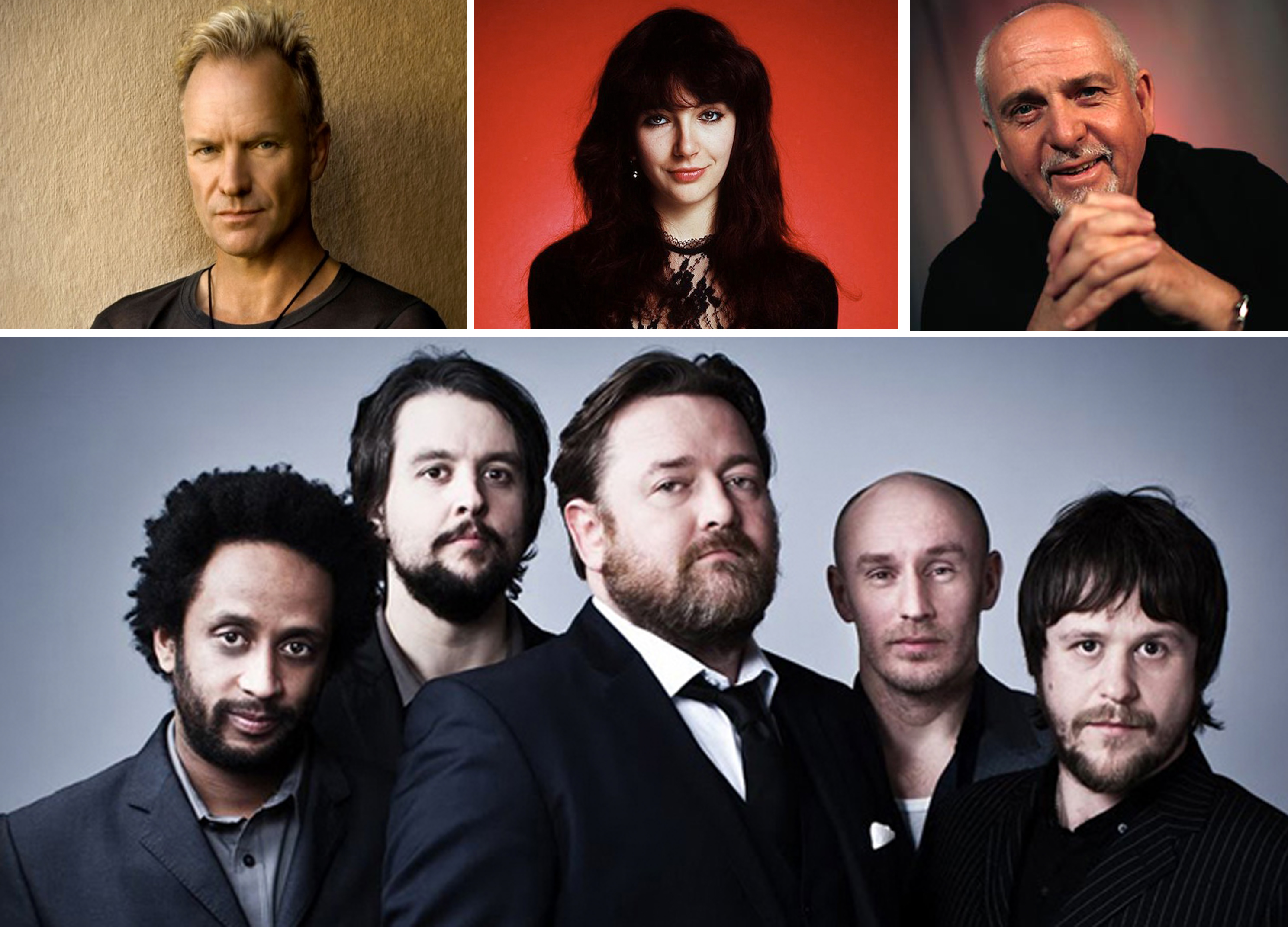 Some of the world's top singers and musicians are contributing tracks for an album to honour Tibet's exiled spiritual leader, the Dalai Lama, on his 80th birthday. From left to right: Sting, Kate Bush, Peter Gabriel, and Elbow