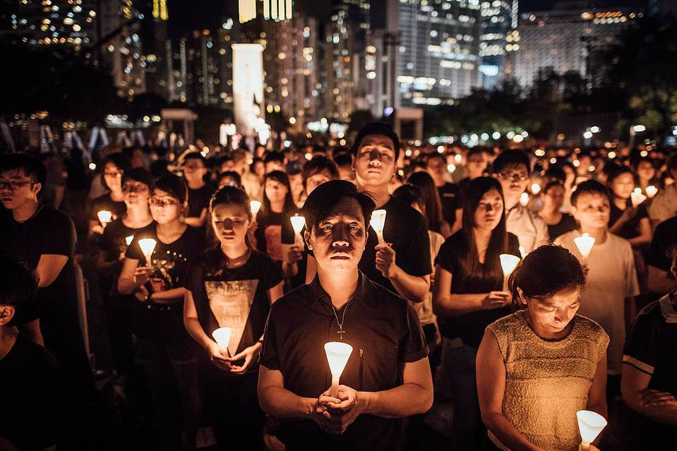 Thousands of people turned out in Hong Kong to mark the 26th anniversary of the Tiananmen Square protests.