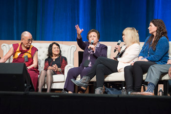 Iranian human rights activist Shirin Ebadi speaking during the afternoon session of the Global Compassion Summit at the the University of California Irvine in Irvine, California on July 6, 2015. Photo/Tenzin Choejor/OHHDL