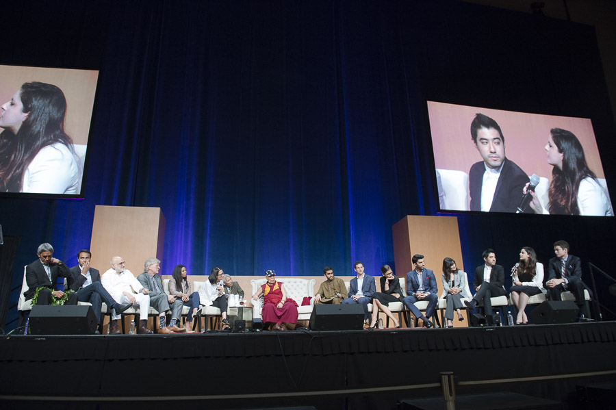 A view of the stage at the niversity of California Irvine's Bren Center, venue for the final session of the Global Compassion Summit in Irvine, California, USA on July 7, 2015. (Photo courtesy/Tenzin Choejor/OHHDL)