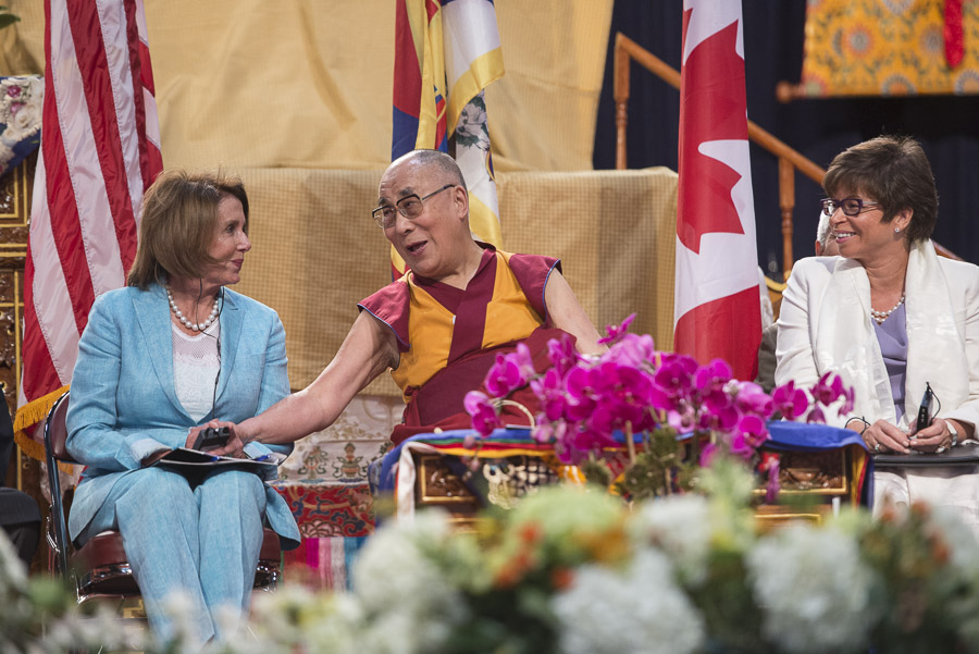 US Representative Nancy Pelosi, His Holiness the Dalai Lama and President Obama's Special Representative Valerie Jarrett during Gratitude Celebrations for His Holiness at the Javits Center in New York, NY, USA on July 10, 2015. (Photo courtesy/Tenzin Choejor/OHHDL)
