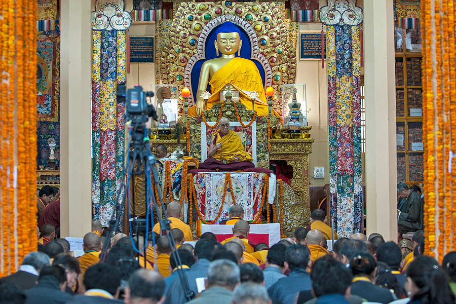 A view inside the Main Tibetan Temple during the Long Life Offering for His Holiness the Dalai Lama in Dharamsala, HP, India on July 20, 2015. (Photo courtesy/Tenzin Phuntsok/OHHDL)