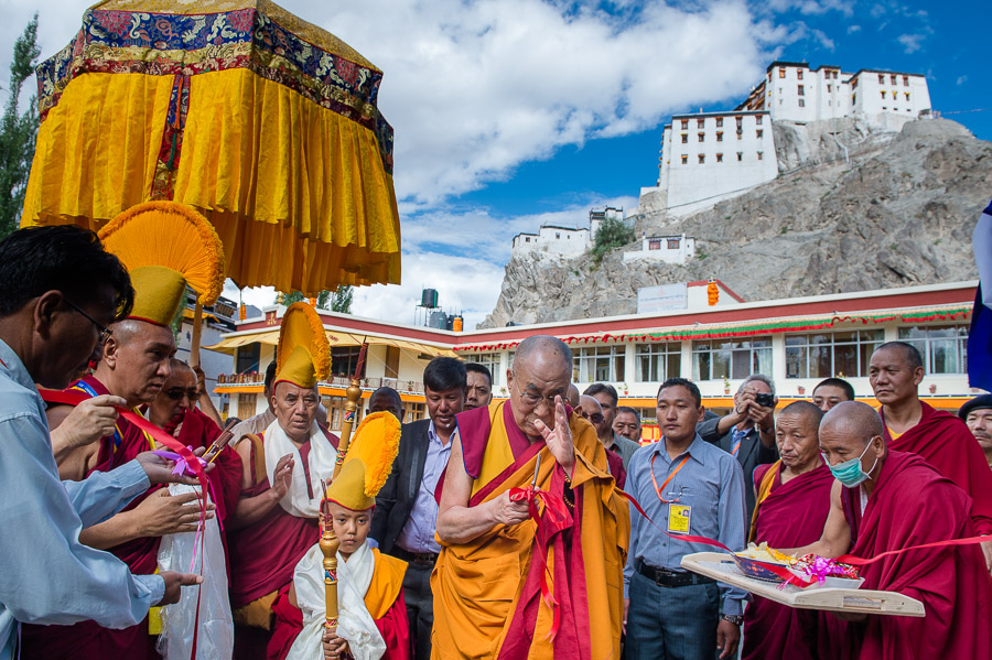With Spituk Monastery in the backgroud, His Holiness the Dalai Lama inaugurates the Summer Higher Buddhist Council at Pegon Phagspa Nastan Bakula Institute in Leh, Ladakh, J&K, India on July 29, 2015. (Photo courtesy/Tenzin Choejor/OHHDL)