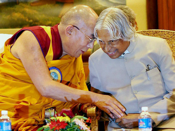 Former President APJ Abdul Kalam and Tibetan spiritual leader His Holiness the Dalai Lama. (Photo courtesy: PTI)