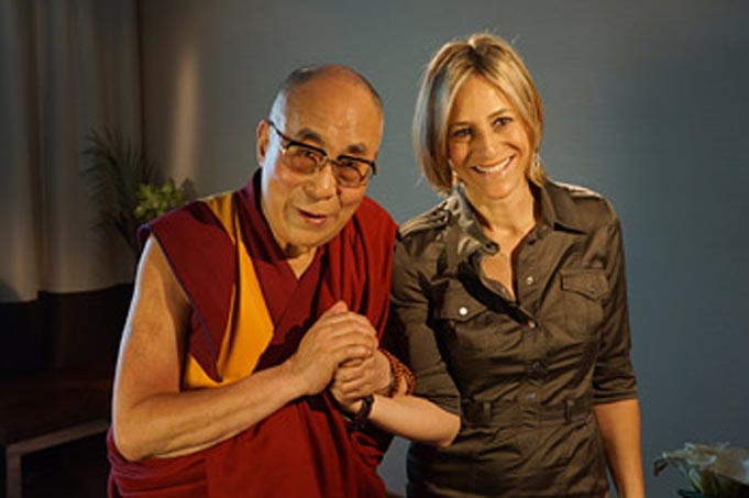 His Holiness the Dalai Lama with Emily Maitlis of the BBC's Newsnight after their interview in Aldershot, Hampshire, UK on June 29, 2015. (Photo courtesy/Jeremy Russell/OHHDL)