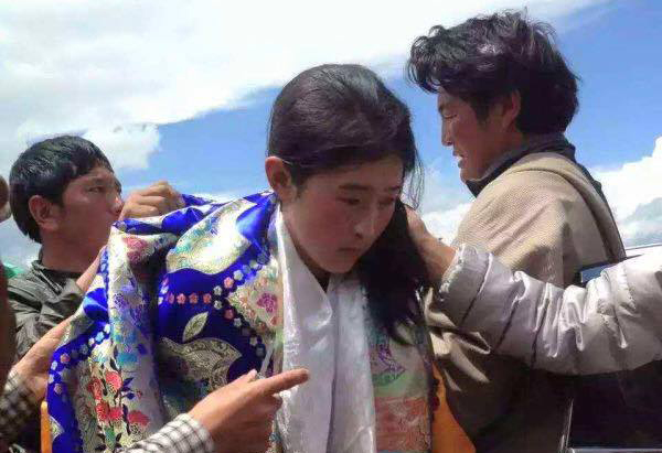 Wangmo on her arrival at Meuruma, Ngaba County. (Photo courtesy: tibet.net)