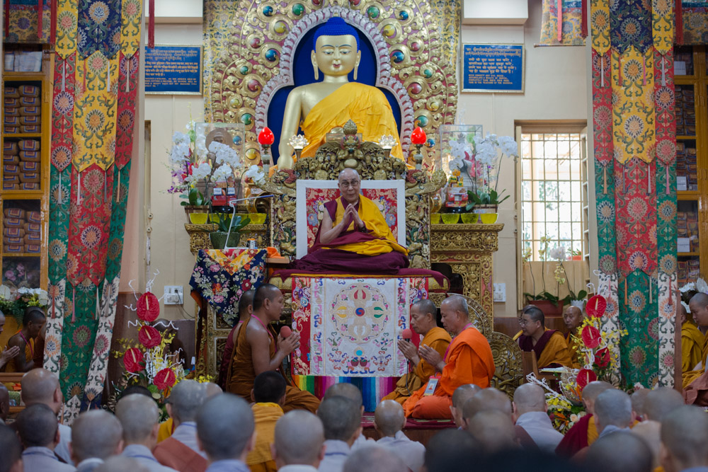 Monks reciting the Heart Sutra at the start of His Holiness the Dalai Lama's teaching requested by a group from Southeast Asia at the Main Tibetan Temple in Dharamsala, HP, India on September 8, 2015. (Photo courtesy/Tenzin Phuntsok/OHHDL)