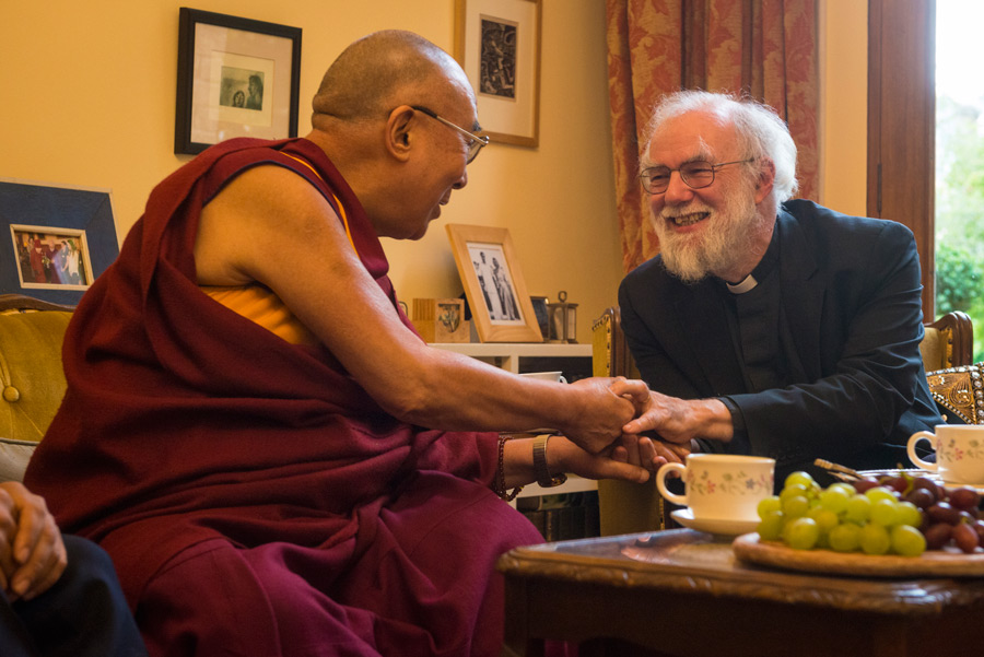 His Holiness the Dalai Lama with Lord Rowan Williams, former Archbishop of Canterbury, at his house at Magdalene College in Cambridge, UK on September 15, 2015. (Photo courtesy/Ian Cumming/OHHDL)
