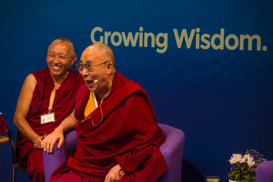 His Holiness the Dalai Lama speaking during the second session of the dialogue on 'Growing Wisdom, Changing People' at Magdalene College's Cripps Court in Cambridge, UK on September 16, 2015. (Photo courtesy/Ian Cumming/OHHDL)