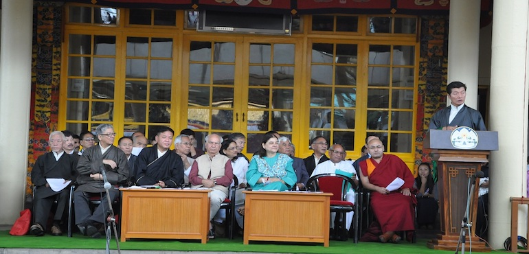 Sikyong Dr. Lobsang Sangay delivering the Kashag's statement at the ceremony to mark the 55th anniversary of Tibetan Democracy Day. (Photo courtesy: tibet.net)