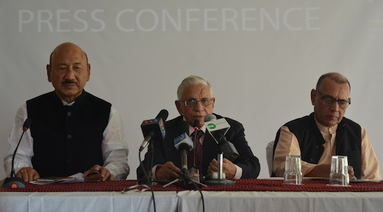 Left to Right: Shri. R.K. Khrimey,former minister and Indian Parliamentarian from Arunachal Pradesh,  Dr. N. K. Trikha, National Convener, Core Group for Tibetan Cause,  and Dr Anand Kumar, Professor at the Jawaharlal Nehru University, New Delhi. (Photo courtesy: tibet.net)