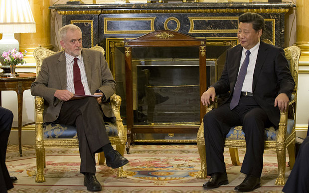 Labour Party leader Jeremy Corbyn talks with the President of The People's Republic of China Xi Jinping. (Photo courtesy: AP)