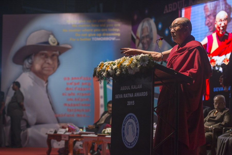 His Holiness the Dala Lama speaking at the Abdul Kalam Seva Ratna Awards ceremony in Chennai, TN, India on November 9, 2015. (Photo courtesy/Tenzin Choejor/OHHDL)