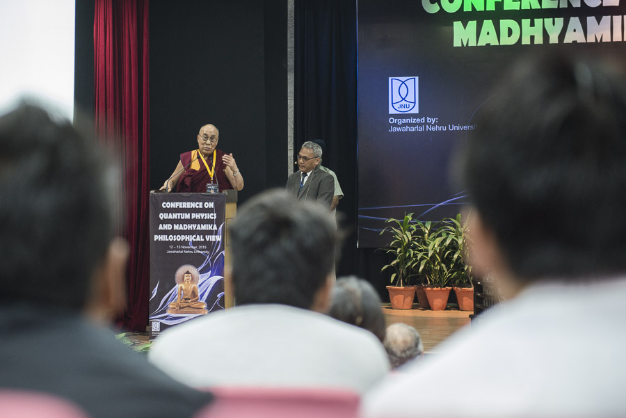 His Holiness the Dalai Lama speaking at the opening of the Conference on Quantum Physics and Madhyamaka Philosophical View at Jawaharla Nehru University in New Delhi, India on November 12, 2015. (Photo Courtesy/Tenzin Choejor/OHHDL)