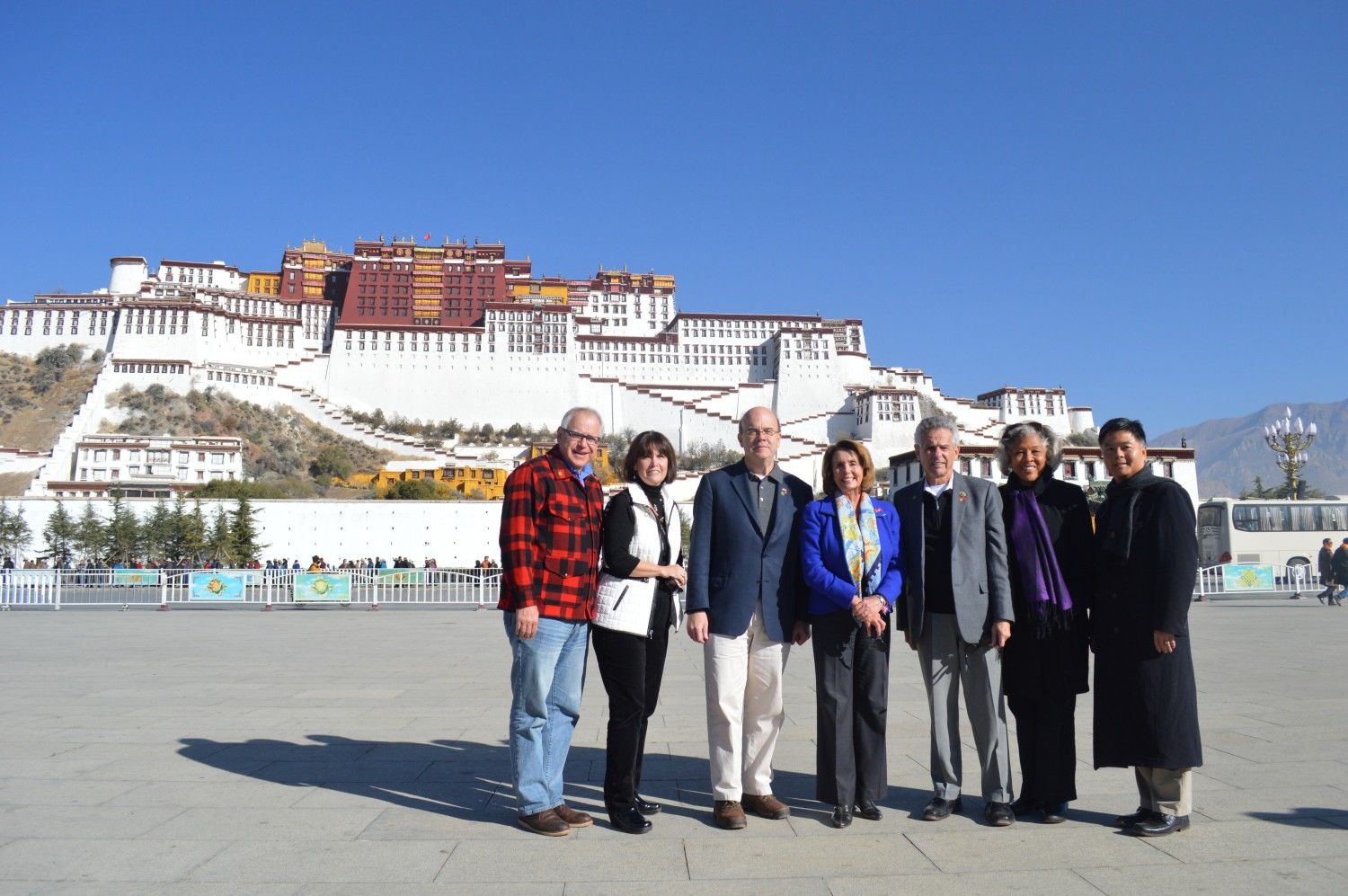 Leader Pelosi and Members of the Congressional Delegation in front of the Potala Palace in Lhasa. (Photo courtesy: democraticleader.gov)