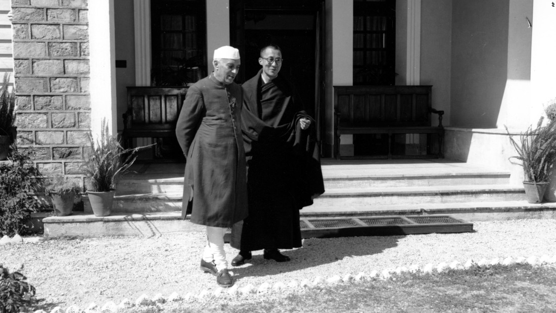 His Holiness the Dalai Lama with first Indian Prime Minister Jawaharlal Nehru Indian Prime Minister  in 1959 at the Birla House in Mussoorie, India. (Photo courtesy: cnn.com)