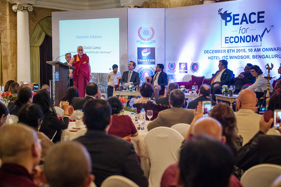 His Holiness the Dalai Lama speaking to members of the Diplomatic Consular Corps of Karnataka in Bengaluru, Karnataka, India on December 6, 2015. (Photo courtesy/Tenzin Choejor/OHHDL)