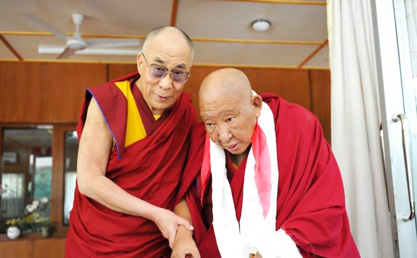 His Holiness the Dalai Lama with Kyabjé Taklung Tsetrul Rinpoche, the head of the Nyingma Tradition of Tibetan Buddhism.