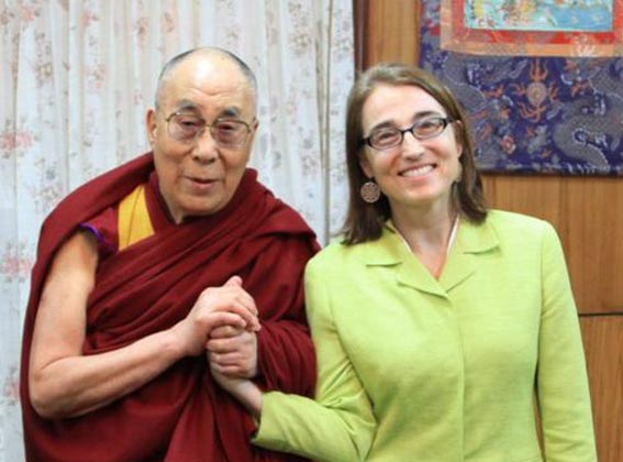 His Holiness the Dalai Lama with Undersecretary Dr Sarah Sewall, the US government's Special Coordinator for Tibetan Issues. (Photo courtesy: @civsecatstate)