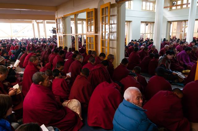 Monks and nuns from monasteries and nunneries around Dharamshala attended the prayer service, 27 January 2016. (Photo courtesy: tibet.net)