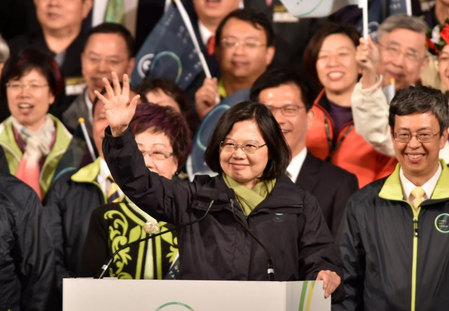 Taiwan's first female president, Tsai Ing-wen, addresses the media after her election. (Photo courtesy: LA Times)