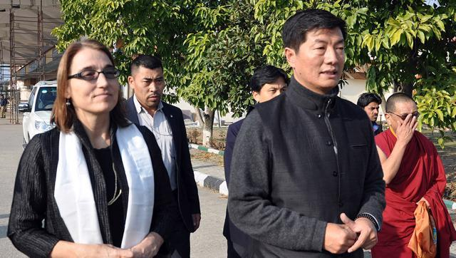 US Under Secretary Sarah Sewall at the Kangra airport along with Sikyong Lobsang Sangay and other delegates on Friday. (Photo courtesy: HT)