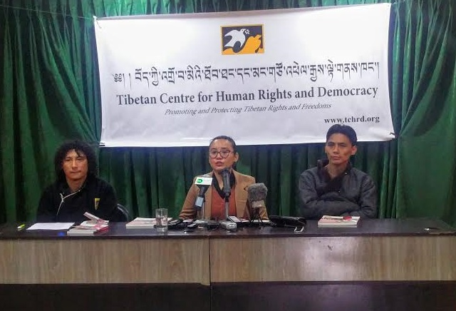 During the release of Dharamshala-based Tibetan Centre for Human Rights and Democracy's Annual Report 2015 on Feb 19 at Dharamshala. (L) Tsering Gyal, Researcher, TCHRD (C) Tsering Tsomo, Director, TCHRD, (R) Tenzin Nyingjey, Senior Researcher, TCHRD. (Photo courtesy: Phayul.com)