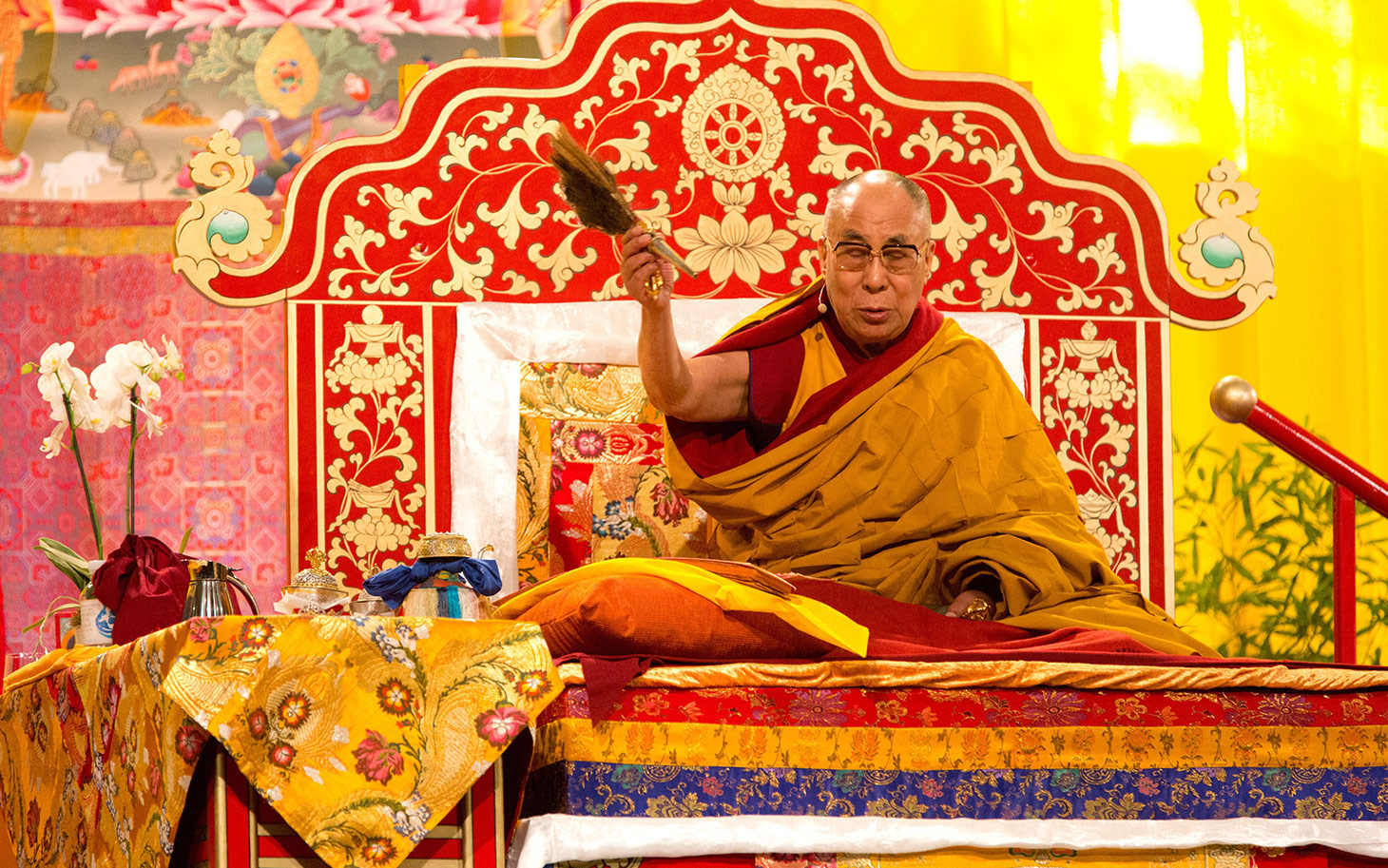 Tibetan spiritual leader Dalai Lama attends a ceremony in Hamburg, northern Germany, on August 26, 2014. With the Buddhist initiation, the Dalai Lama ended the spiritual part of his visit to the Hanseatic city. (Photo courtesy: AFP/CHRISTIAN CHARISIUS)