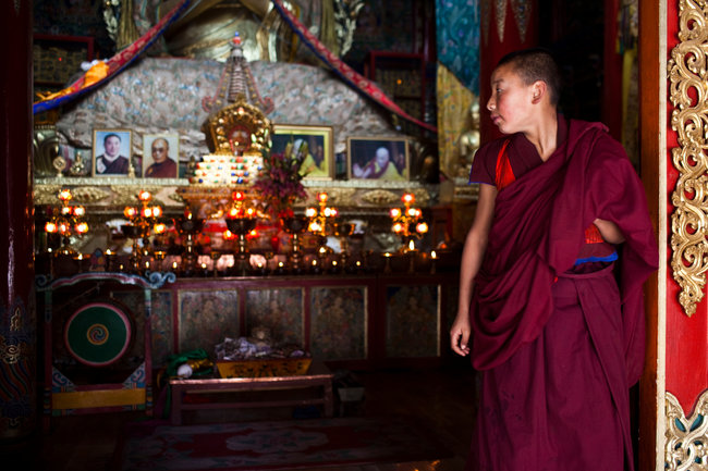 Images of the Dalai Lama, banned by China, at a Tibetan monastery in Qinghai. (Photo courtesy: Shiho Fukada/The New York Times)