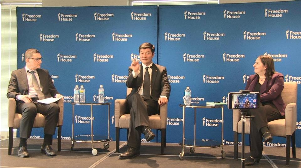 Sikyong Dr Lobsang Sangay speaking at Freedom House, 11 February 2016. (Photo courtesy: Tibet.net)