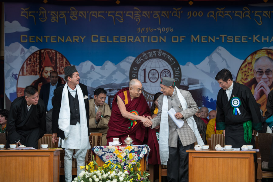 His Holiness the Dalai Lama thanking Himachal Pradesh Forestry Minister Shri Thakur Singh Bnarmouri for his speech at the Men-Tsee-Khang Centenary Celebrations at the Main Tibetan Temple in Dharamsala, HP, India on March 23, 2016. (Photo courtesy/Tenzin Choejor/OHHDL)