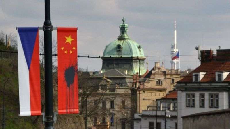 Chinese flags hoisted in the Czech Republic ahead of a visit by Chinese President Xi Jinping have been defaced. (Photo courtesy: BBC)