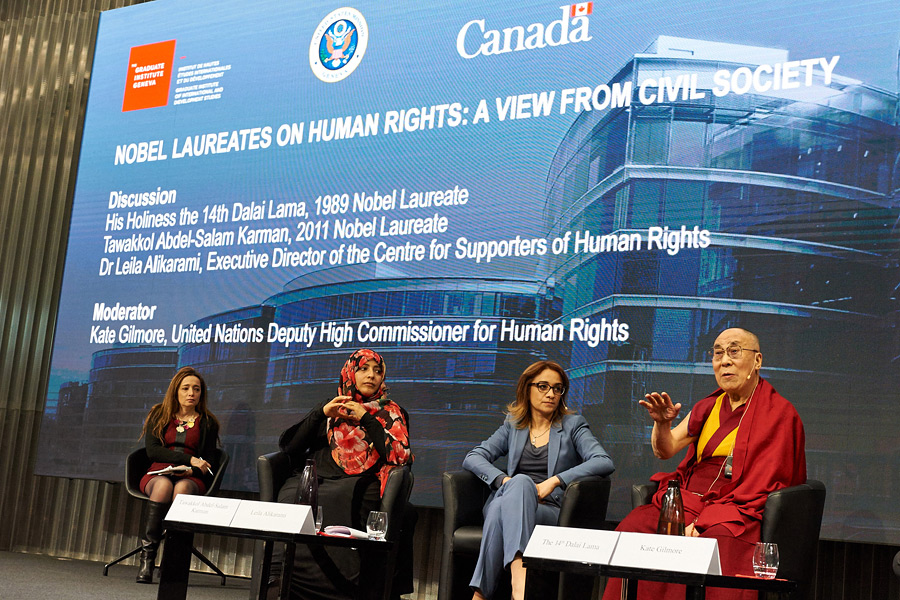 His Holiness the Dalai Lama speaking during the panel discussion on 'Nobel Laureates on Human Rights - A view from civil society' in Geneva, Switzerland on March 11, 2016. (Photo courtesy/Olivier Adam/OHHDL)