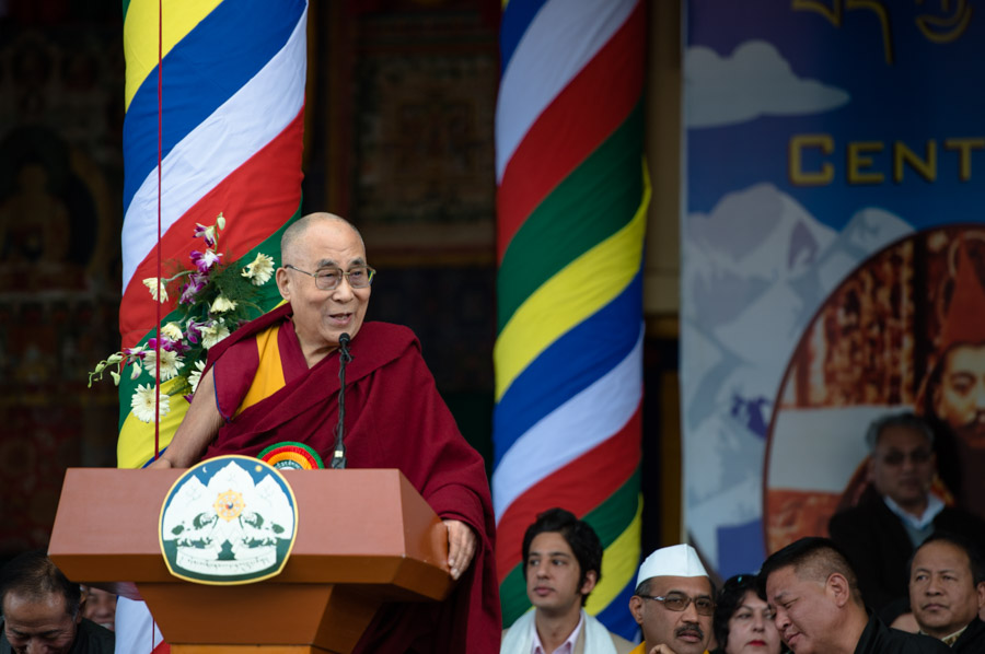 His Holiness the Dalai Lama speaking at the Men-Tse-Khang in Dharamsala, during the Men-Tsee-Khang Centenary Celebrations at the Main Tibetan Temple in Dharamsala, HP, India on March 23, 2016. (Photo courtesy/Tenzin Choejor/OHHDL)