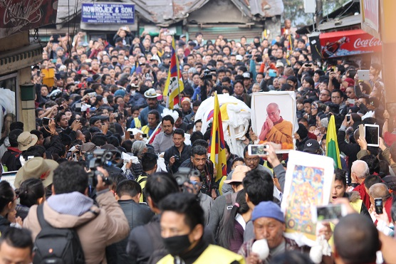 Thousands of Tibetans, joined by supporters, took part in an emotionally charged funeral ceremony at Dharamshala, India, on Mar 6 of 16-year-old schoolboy Dorje Tsering who had self-immolated on Feb 29.  (Photo courtesy: Phayul.com)