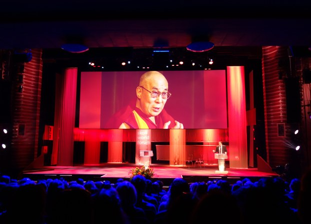 The Skoll World Forum honouring His Holiness the Dalai Lama with the Global Treasure Award on 14 April 2016, at Said Business School, University of Oxford, England. (Photo courtesy: tibet.net)