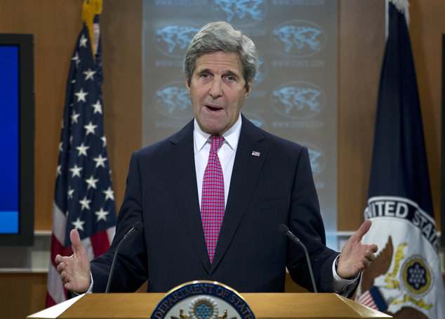 Secretary of State John Kerry presents the 2015 Country Reports on Human Rights Practices, Wednesday, April 13, 2016, at State Department in Washington. (Photo courtesy: AP)