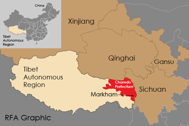 Map showing location of Markham county in the Tibet Autonomous Region. (Courtesy: RFA)